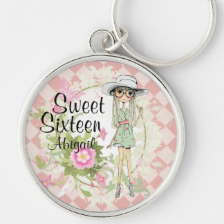 Personalized Sweet 16 Cool Girl Flowers Keychain