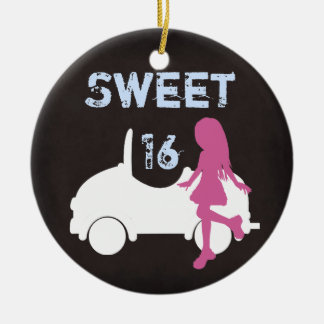 Personalized Sweet 16 Girl and Car ~ Pink, Blue Ceramic Ornament