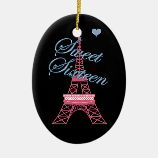 Paris Eiffel Tower Pillow 16 X 16: Personalized Sweet 16 Paris Eiffel Tower Ornament