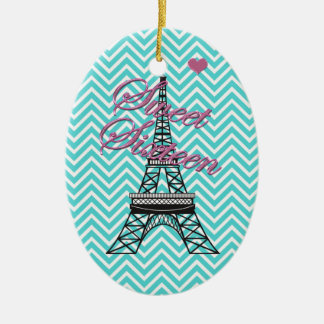 Personalized Sweet 16  Paris Eiffel Tower Ornament
