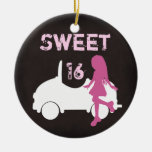 Personalized Sweet 16 Silhouette Girl with Car Ceramic Ornament