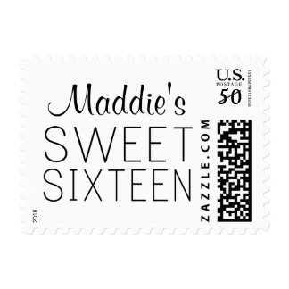 Personalized Sweet 16 Stamp Black and White
