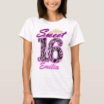 Personalized Sweet 16 Tiara and zebra print T-Shirt