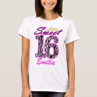 Personalized Sweet 16 Tiara and zebra print T-Shirt