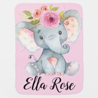 Personalized Sweet Baby Elephant Girl Floral Baby Blanket