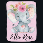 "Personalized Sweet Baby Elephant Girl Floral Baby Blanket<br><div class=""desc"">Snuggle up with cuteness and softness with this precious baby girl elephant wearing a floral crown. Features a soft pink background on the front and a light gray color on the back. Elephant and flowers are watercolor and such a sweet nursery addition. Can be personalized to any name. A super...</div>"