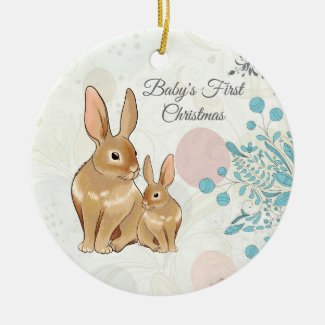 Personalized Sweet Bunnies Baby's 1st Christmas Ceramic Ornament