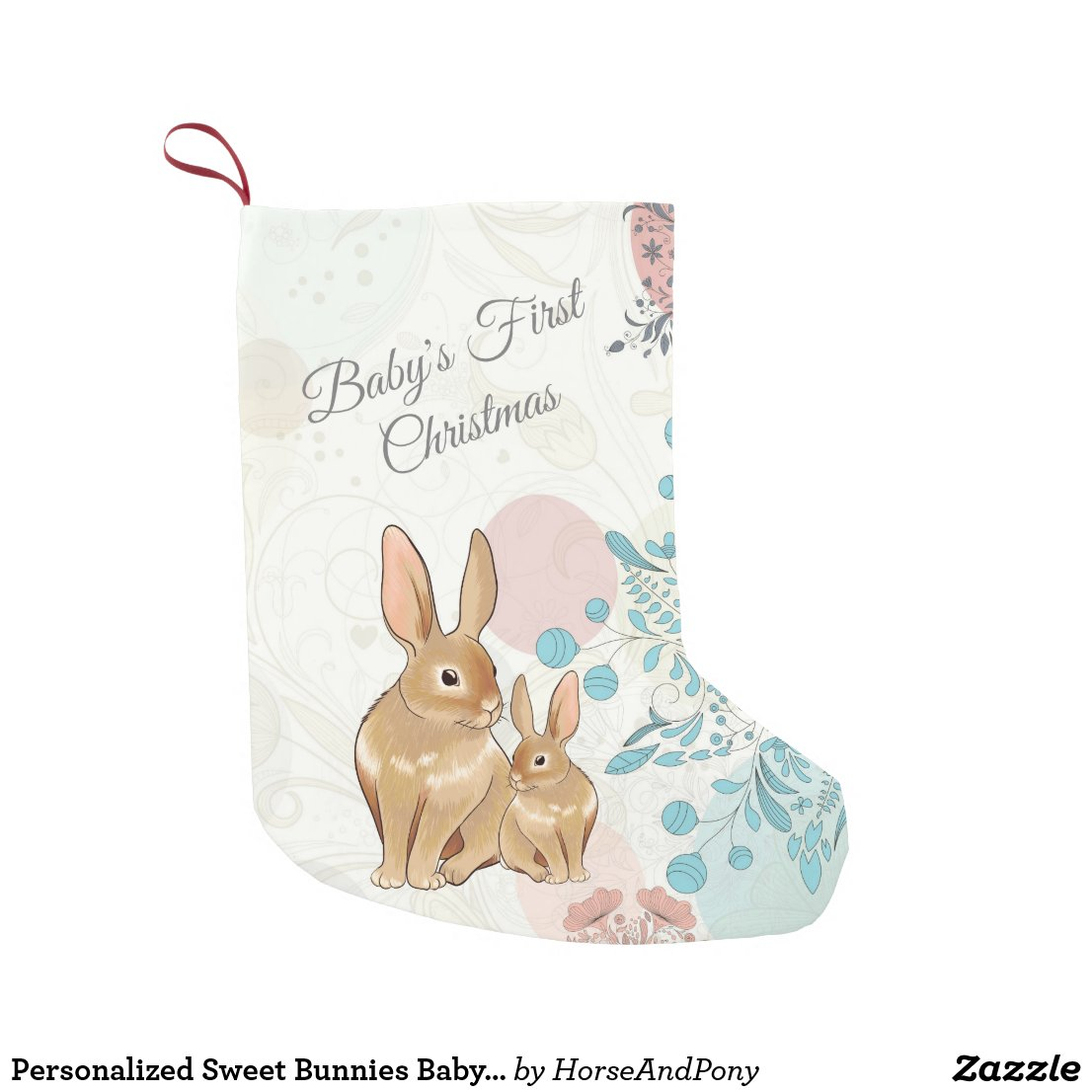 Personalized Sweet Bunnies Baby's 1st Christmas Small Christmas Stocking