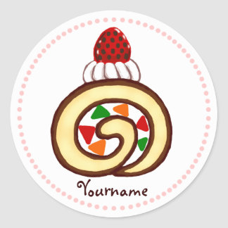 Personalized Sweet Cake Roll Classic Round Sticker