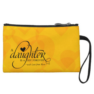 Personalized Sweet Gift for Daughter Orange Hearts Wristlet