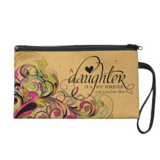Personalized Sweet Gift for Daughter Retro Floral Wristlet