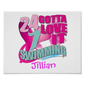 Personalized SWIMMING Gifts Poster