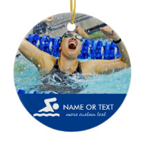 Personalized Swimming Photo Christmas Ceramic Ornament