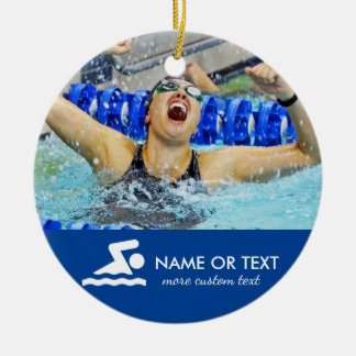 Personalized Swimming Photo Christmas Ceramic Ornament