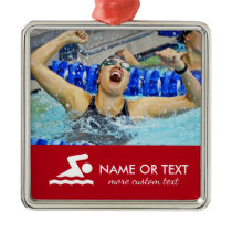 Personalized Swimming Photo Swimmer Name Christmas Metal Ornament