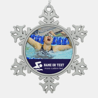 Personalized Swimming Photo Swimmer Name Christmas Snowflake Pewter Christmas Ornament