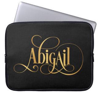 Personalized Swirly Script Abigail Gold on Black Laptop Sleeves