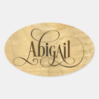 Personalized Swirly Script Abigail Wood Veneer Oval Sticker