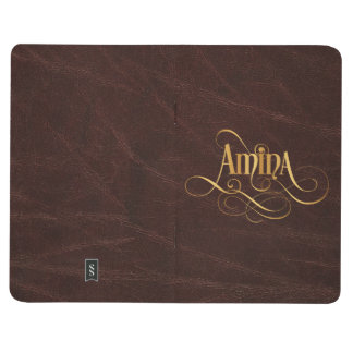 Personalized Swirly Script Amina Gold on Leather Journal