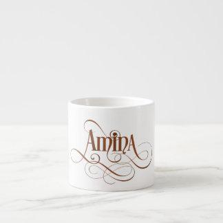 Personalized Swirly Script Amina Natural Kraft Espresso Cup