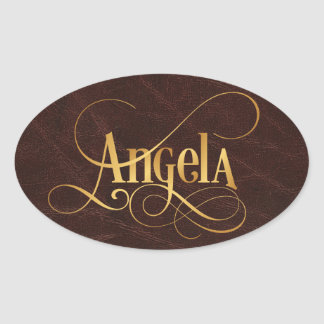 Personalized Swirly Script Angela Gold on Leather Oval Sticker