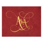 Personalized Swirly Script Ava Gold on Red Custom Invites