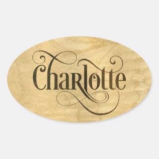 Personalized Swirly Script Charlotte Wood Veneer Oval Sticker