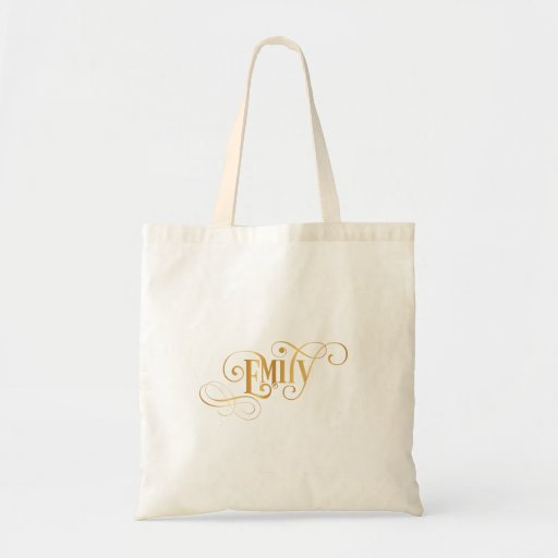 Personalized Swirly Script Emily Gold on Black Canvas Bags