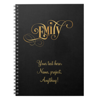 Personalized Swirly Script Emily Gold on Black Spiral Notebook