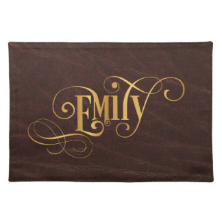 Personalized Swirly Script Emily Gold on Leather Placemat