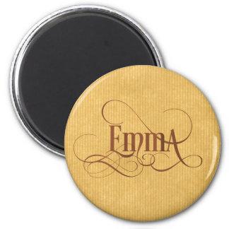 Personalized Swirly Script Emma Kraft Paper Magnet