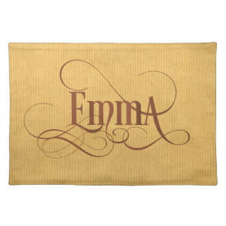 Personalized Swirly Script Emma Kraft Paper Placemat