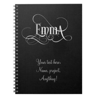 Personalized Swirly Script Emma Silver on Black Notebook
