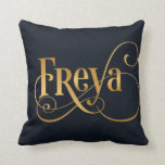 Personalized Swirly Script Freya Gold on Deep Blue Pillows