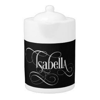 Personalized Swirly Script Isabella Silve on Black Teapot