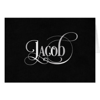 Personalized Swirly Script Jacob Silver on Black Card