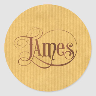 Personalized Swirly Script James Brown Kraft Paper Classic Round Sticker