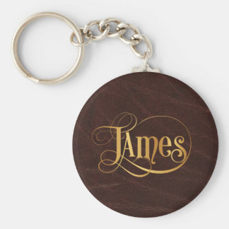 Personalized Swirly Script James Gold on Leather Keychain