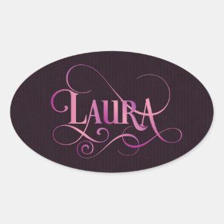 Personalized Swirly Script Laura Pink on Purple Oval Sticker