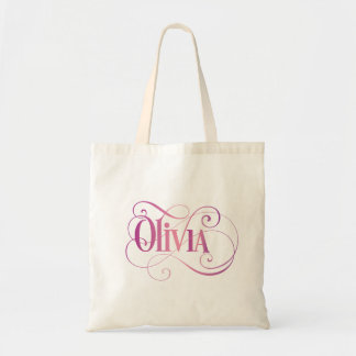 Personalized Swirly Script Olivia Pink on Black Tote Bag