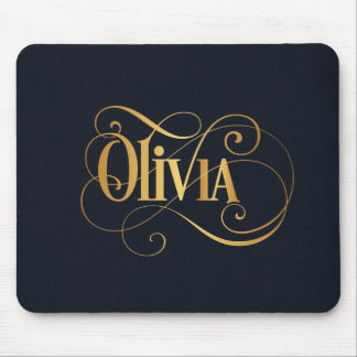 Personalized Swirly Script Olivia Silver on Indigo Mouse Pad