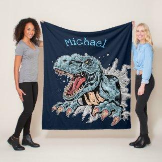 Personalized Dinosaur Fleece Blankets