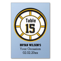 Personalized table numbers ice hockey theme