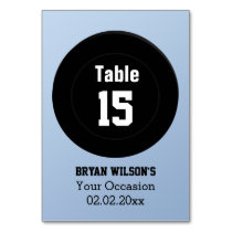 Personalized table numbers ice hockey theme card