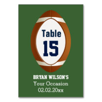 Personalized table numbers Sports Party football Card
