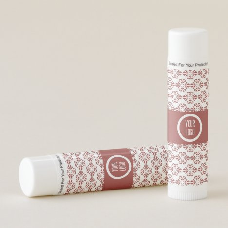 Personalized tan colored damask pattern lip balm