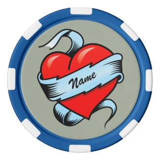 Personalized Tattoo Heart Poker Chips