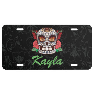 Personalized Tattoo Sugar Skull Pink Roses License Plate