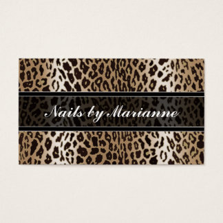 Personalized Taupe Leopard Animal Print Business Card