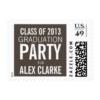 PERSONALIZED TAUPE WHITE 2013 GRAD PARTY STAMP